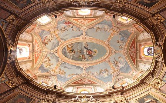 Malta, Mdina, Ceiling, Inside, Church, Dome, Interior