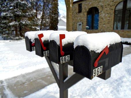 Mailbox, Winter, Snow, Postbox, Mail, Season, White