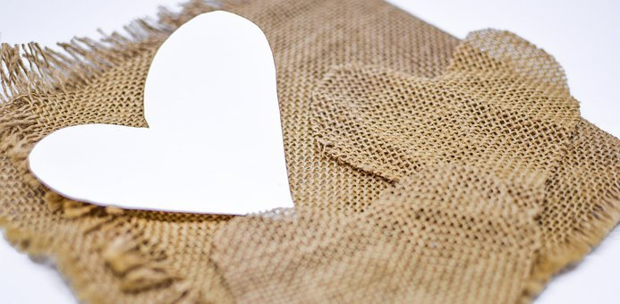 Heart, Background, Jute, Rustic, Valentine, Day