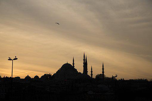 Sunset, Silhouette, Dawn, Evening, Dusk, Mosque