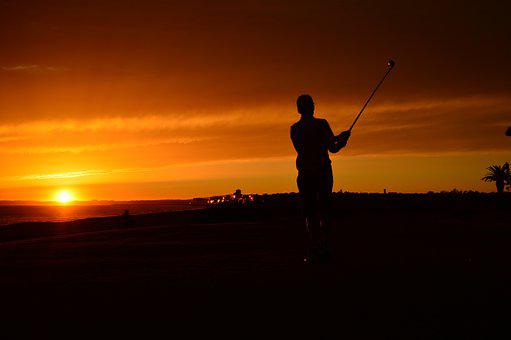 Sunset, Silhouette, Dusk, Dawn, Backlit, Golf