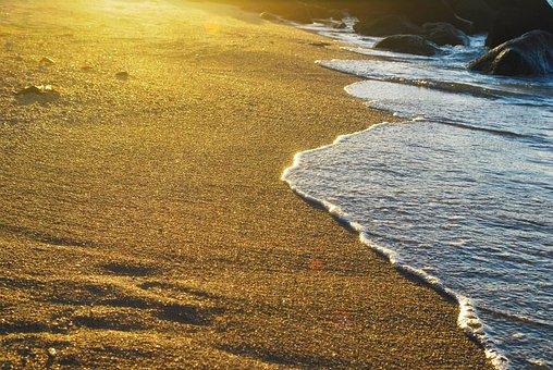 Seashore, Beach, Water, Sea, Sand, Golden, Sunset