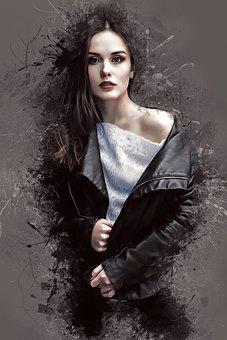 Portrait, Woman, Female, Young, Beauty, Model, Ink