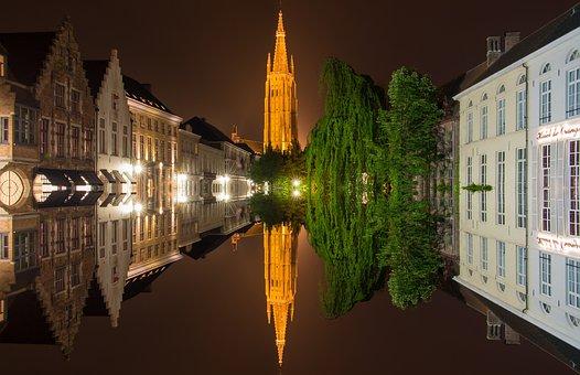 Bruges, Belgium, Mirroring, Historic Center, Water