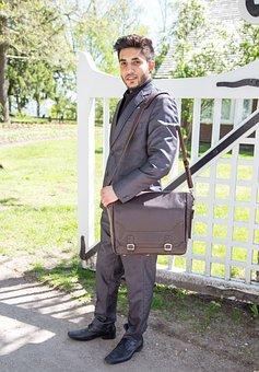 Man, Bag, Executive, Briefcase, Outdoors, Brown, Male