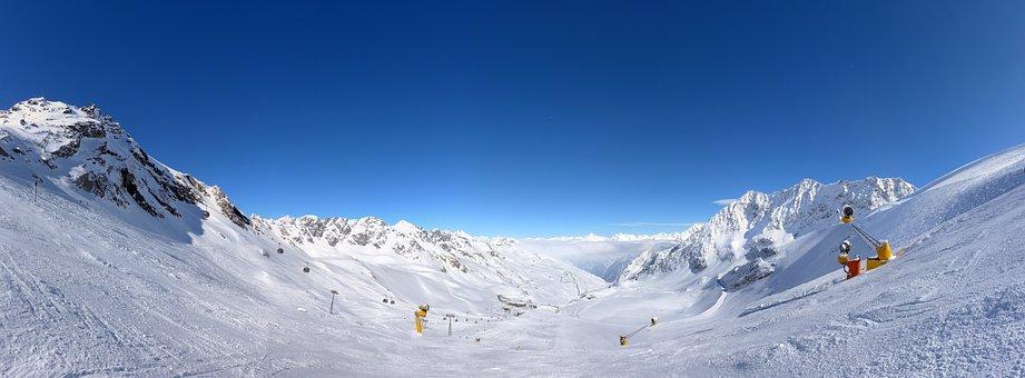 Ski, Slope, Mountain, Winter, Snow, Cold, Sun, Bright