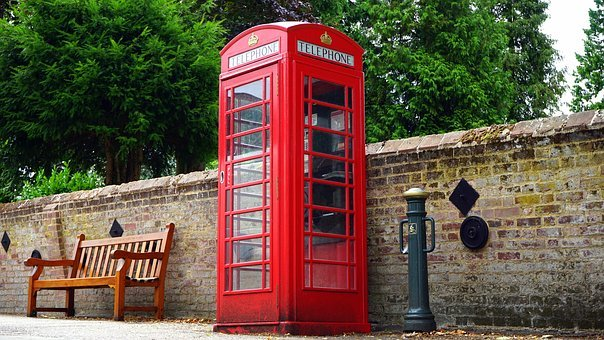 British, Telephone, Red, Box, Booth, England, Phone