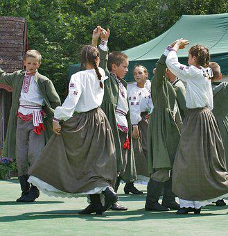 Dance, Team, Folklore, Children, Boys, Girls, A Pair Of