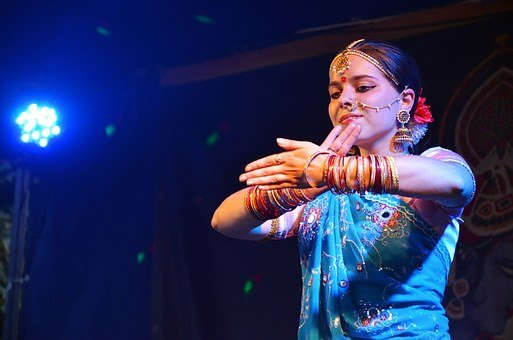 India, Paint, Dance, Concert, Blue, Belly Dance, Girl