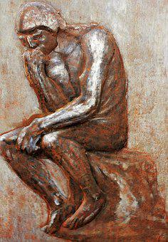 Think, Man, Memorial, Monument, Copper Picture, Artwork