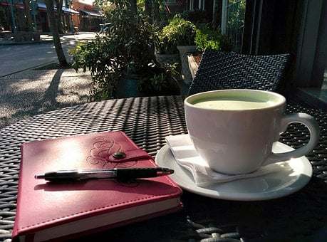 Cafe, Writing, Matcha, Green Tea, Latte, Cup, Table