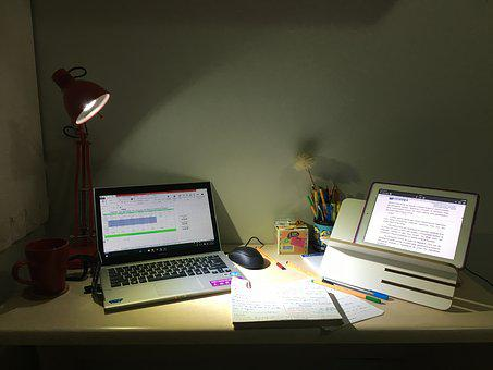 Study, Research, Night, Notebook, Ipad, Desk, Work