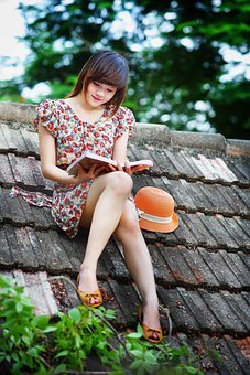 Girl, Reading, Book, Education, Young, People, Happy