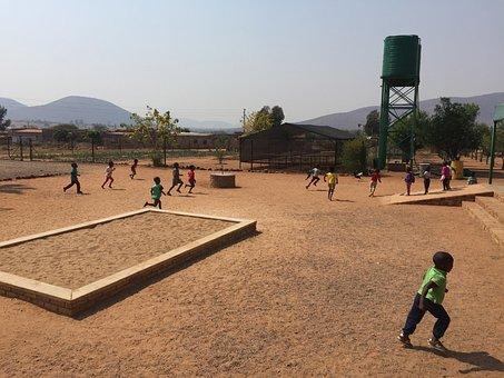 South Africa, Children, Happy, Chicken, Dusty, Sand