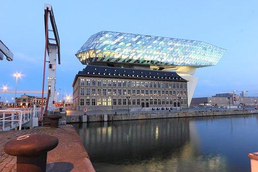 Belgium, Antwerp, Office, Building, Harbor, Havenhuis