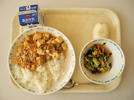 School Lunch, Lunch, Cafeteria, Japanese School Lunch