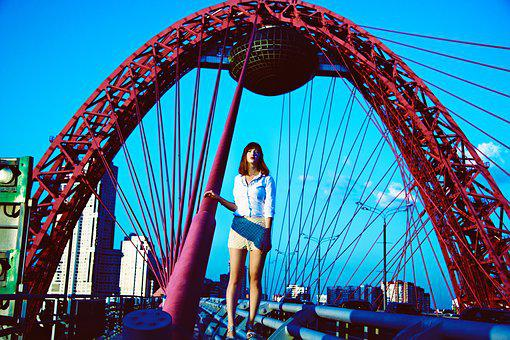 Photo Shoot On The Picturesque Bridge, Moscow, Girl