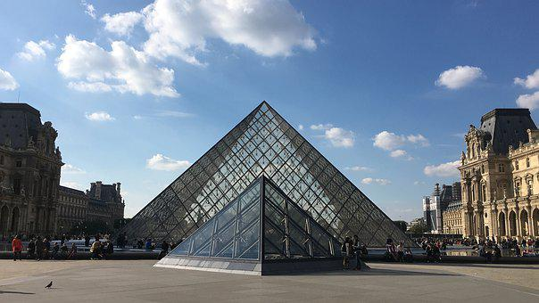 Pyramids, Museum, Louvre, Glass Pyramid, Paris, Sky
