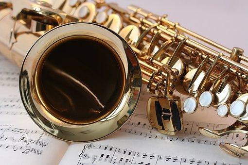 Saxophone, Music, Gold, Gloss, Notenblatt, Keys