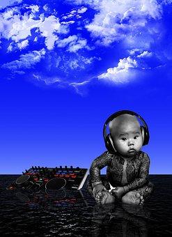 Baby, Sky, Mar, Tattoo, Headphones, Listen To Music, Dj