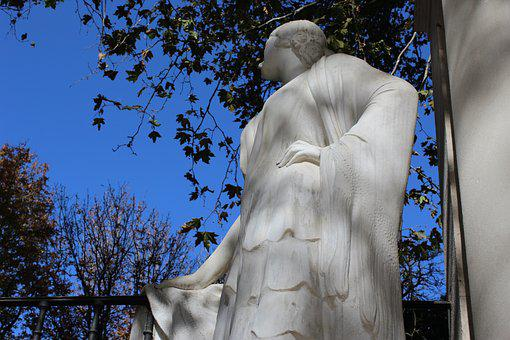 Woman Thinking, Sculpture, Monument, Marble, Statue