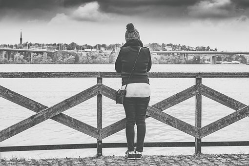 Woman, View, Stockholm, Sweden, Looking, Out, Thinking
