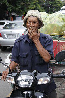 Smile, Moto, Thai, Man, Old, People, The Locals