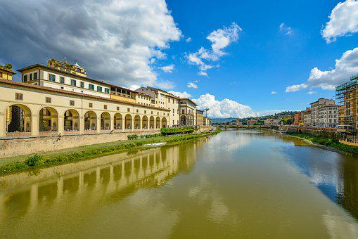 Italy, River, Arno, Uffizzi, Sky, Florence, Town