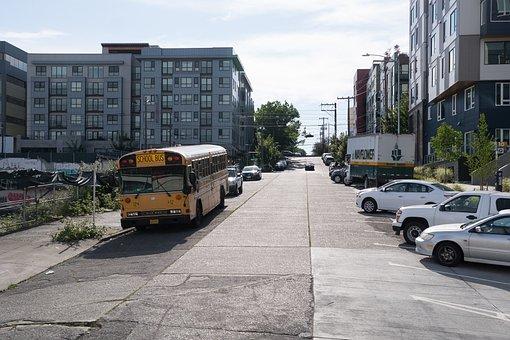 School Bus, Uphill Road, Road, Yellow, Uphill, Hill