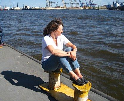 Elbe, Hamburg, Bollard, Wait, View, Woman, Watch