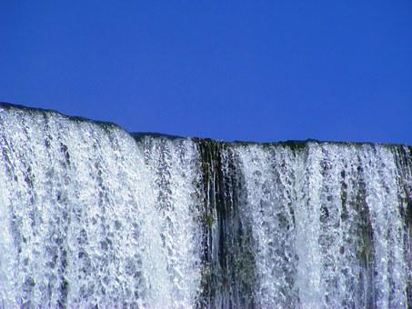 Waterfall, Water, Sky, Nature, River, Zambia, Africa