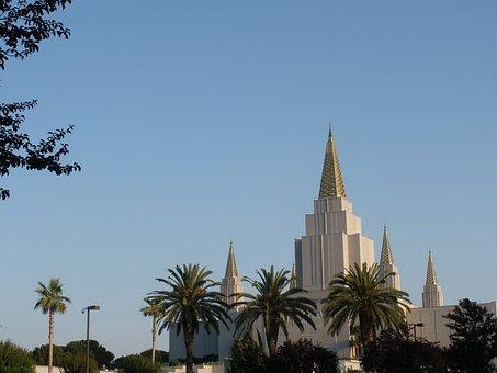 Temple, Mormon, Architecture, Oakland, Palm, Trees
