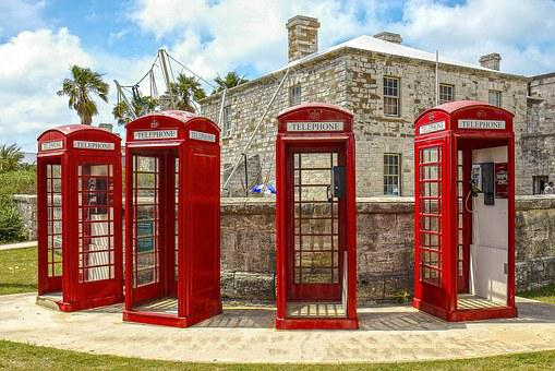 Phone Booth, Red, Bermuda, Vintage, Retro
