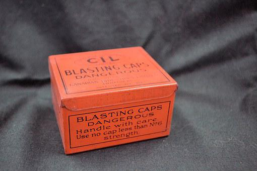 Blasting, Caps, Danger, Beware, Tin, Box, Blast
