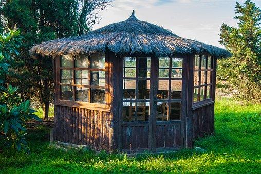 Pergola, Booth, Cabin, Field, Nature, Rural