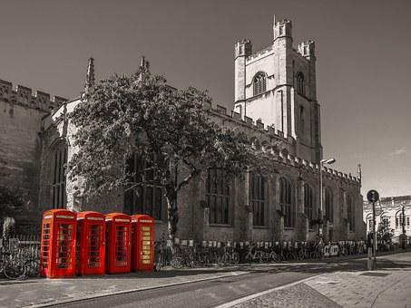 Cambridge, The Phone Booth, Church, English, Město