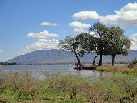 Zambia, Sky, Clouds, Mountains, Lake, Water
