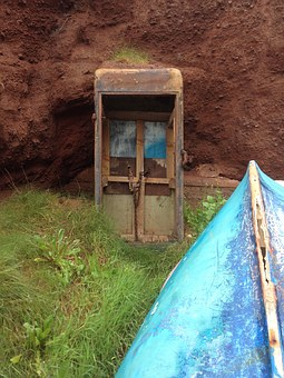 Old, Boat, Rowboat, Phone Booth, Worn, Derelict