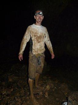 Cavers, Speleology, Dirty, Dirt, Clay, Dark, Darkness