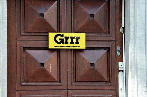 Grr, Emoticon, Door, Door Sign, Funny, Message, Old