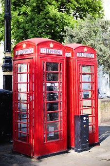 Phone Booths, Red, England, British, London, Booth