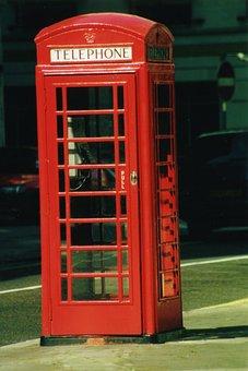 Phone Booth, English, Phone, England, Call, Retro, Red