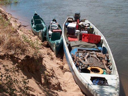 Supplies, Boat, Canoe, Zambezi River, River Bank, Grass