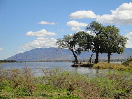 Zambia, Landscape, Mountains, Sky, Clouds, Trees, Lake