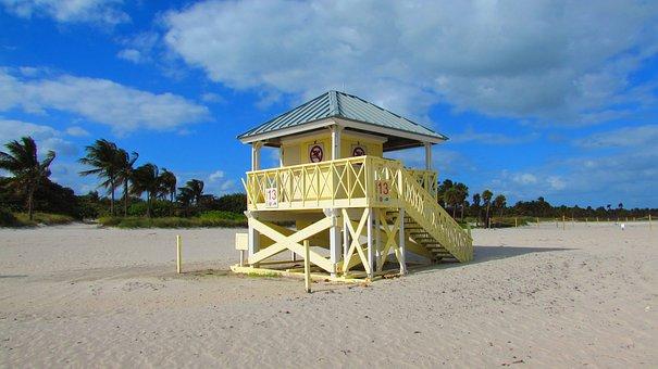Beach, Miami, Costa, Landscape, Booth, Edge Of The Sea