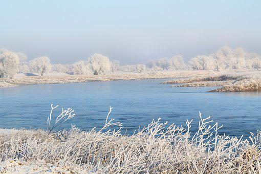 Landscape, River, Elbe, Winter Impressions, Wintry