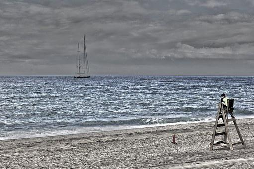 Beach, Watchman, Life Guard, Guard Booth, Sea, Sand