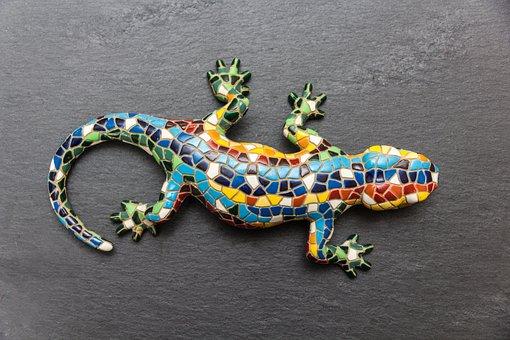 Gecko, Mosaic, Lizard, Spain, Barcelona, Slate