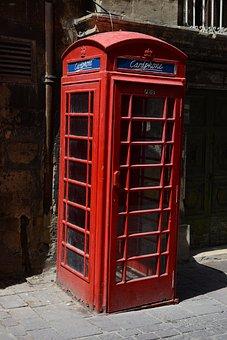 Malta, Valetta, Phone Booth, Red, City