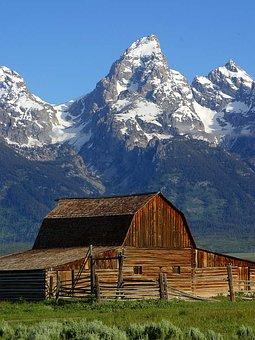 Mormon Row Barn, Wyoming, National Park, Usa, Nature